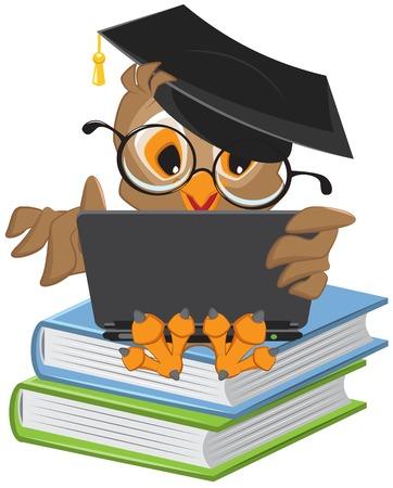 Buho que se sienta en los libros y la celebración de un ordenador portátil. Ilustración en formato vectorial Vectores