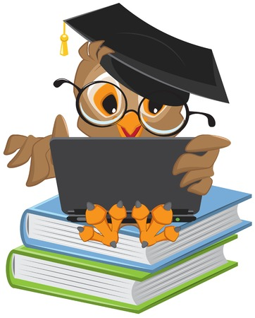Owl sitting on books and holding a laptop. Illustration in vector format
