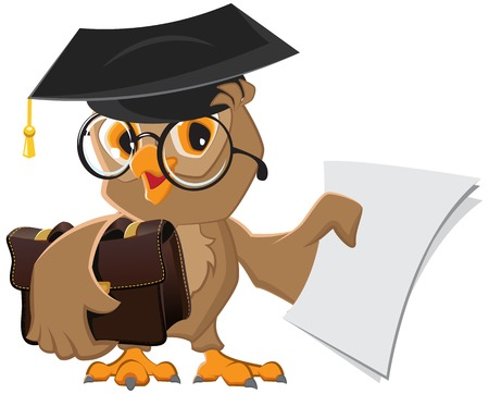 Owl holding a briefcase and paper. Illustration in vector format Stock Illustratie