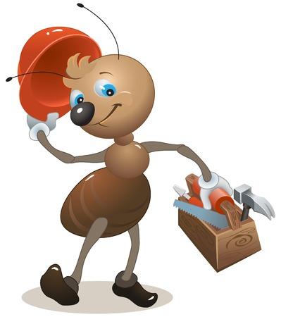Hormiga de carpintero en el casco contiene caja de herramientas. Ilustración vectorial de dibujos animados