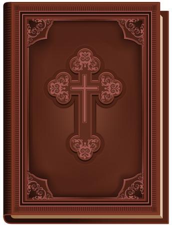 De Bijbel. Gesloten boek met een kruis op de cover. Illustratie in vector-formaat Stock Illustratie