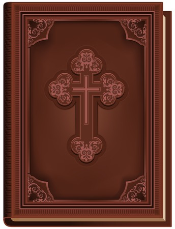 The Bible. Closed book with a cross on the cover. Illustration in vector format