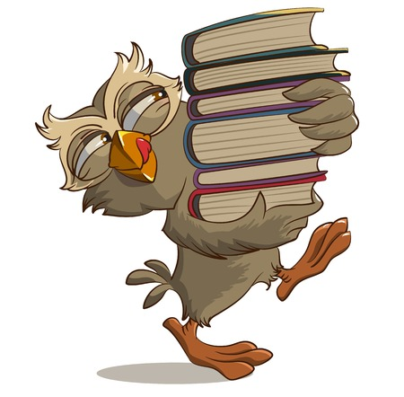Satisfied owl carries books. Illustration in vector format