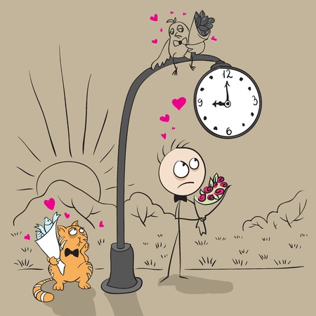 The guy near post with a clock waiting for date with a girl. Vector cartoon illustration Vector