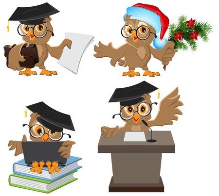Set owl in mortarboard. Illustration in vector format