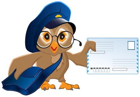 Owl facteur apporta une lettre Illustration Banque d'images - 34569732