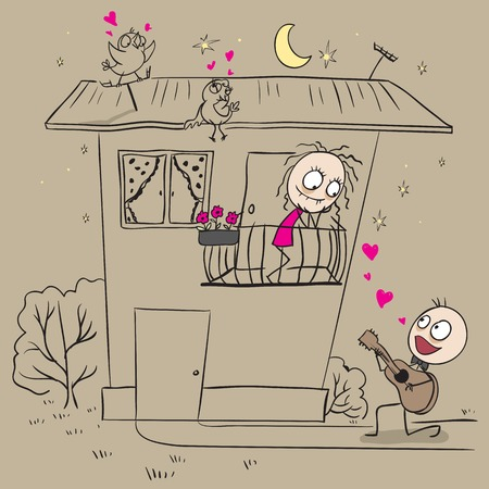serenade: Guy plays guitar and sings a serenade his girlfriend. Vector cartoon illustration