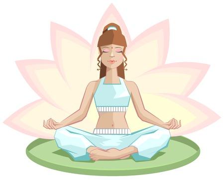 legged: Yoga. Beautiful girl meditating in lotus position. Illustration in vector format
