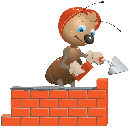 builds: Ant mason builds a wall. Vector cartoon illustration Illustration