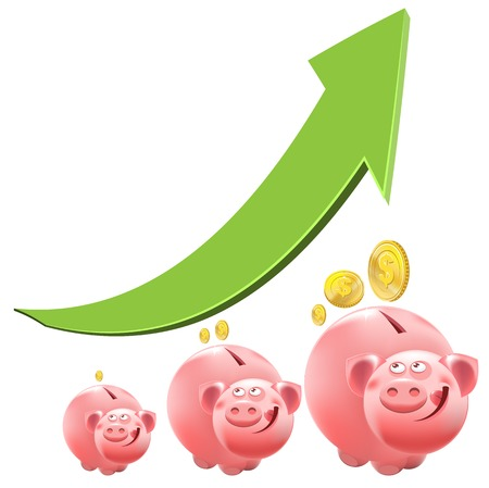 Pig piggy bank. Interest money. Illustration in vector format