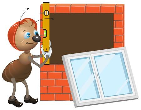 Ant worker. Installing plastic window. Illustration in vector format