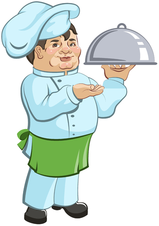 kitchener: Thick chef cook is a dish. Illustration in vector format