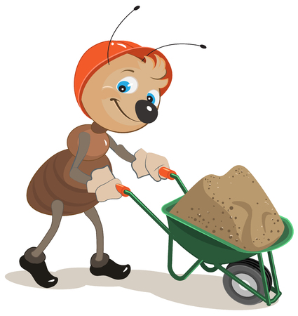 carries: Ant carries a cart with sand. Illustration in vector format