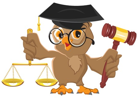 Owl Judge holding gavel and scales. Vector cartoon illustration