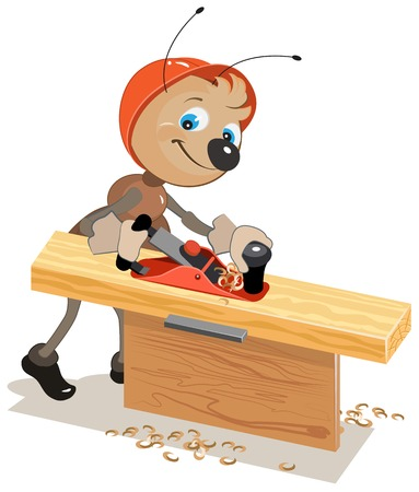 pismire: Ant carpenter planed board a plane. Illustration in vector format Illustration