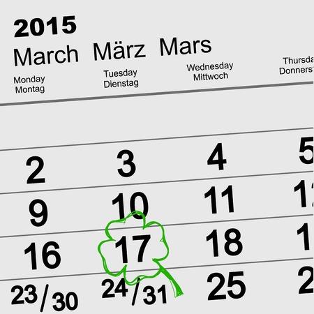 17th of march: Saint Patricks Day Calendar March 17.