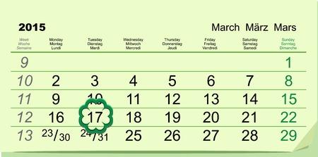 march 17: Saint Patricks Day Calendar March 17.