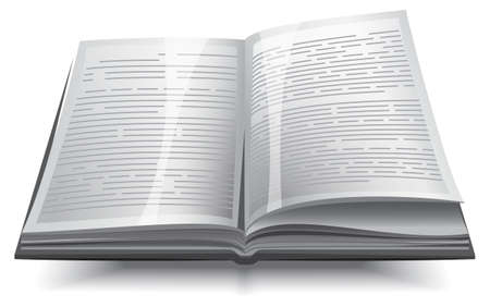 handbook: Gray opened book with text. illustration isolated