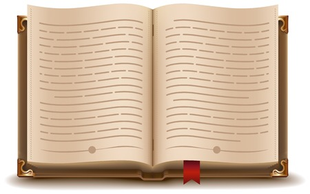 Open book with text and red bookmark. Illustration in vector format