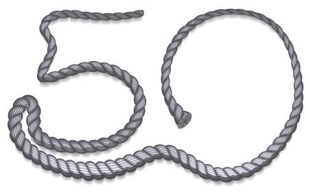 number 50: N�mero 50 subido la cuerda gris. Ilustraci�n aislado
