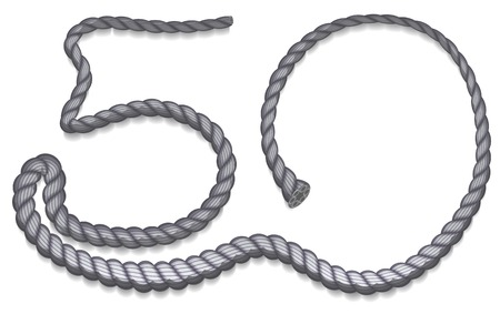 50 number: Number 50 uploaded gray rope. Illustration isolated
