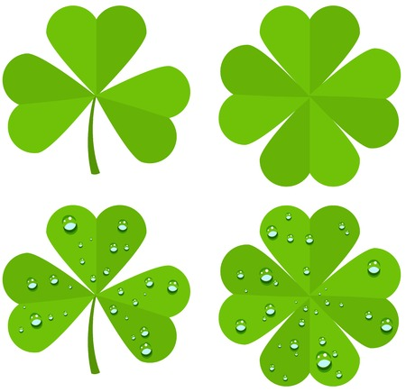 four objects: Set clover leaves isolated on white background. Illustration in vector format