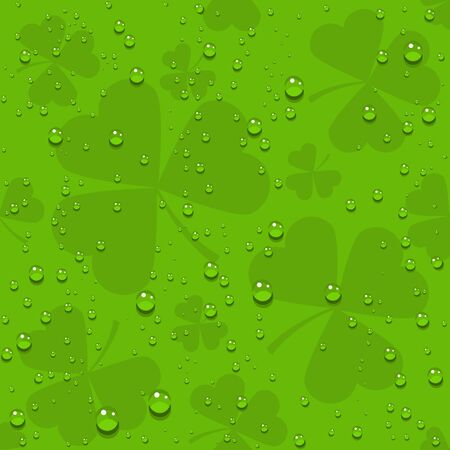Green seamless clover leaves with transparent drops of dew. Illustration in vector format