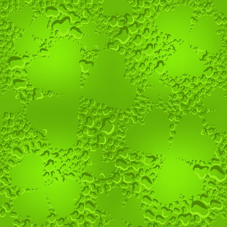 dew: Green seamless glass clover leaves with transparent drops of dew. Illustration in vector format Illustration