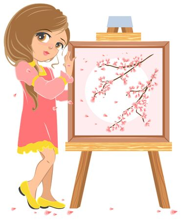near: Girl standing near easel painter. Picture of cherry blossoms. Illustration in vector format