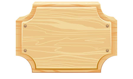 wooden signboard: Wooden signboard with rounded corners. Isolated illustration in vector format