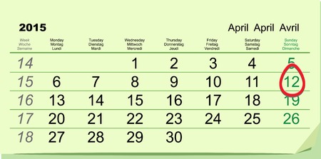 orthodox: April 12 - Orthodox easter 2015. Green calendar. Illustration in vector format