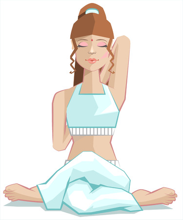 lady cow: Girl sitting in yoga pose gomukhasana. Cows head posture. Illustration in vector format