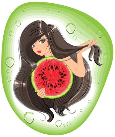 watermelon woman: Brunette girl holding a watermelon. Template label shampoo. Illustration in vector format