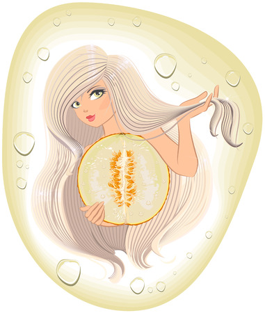 beaty: Blonde with long hair holding a cut melon.  Template labels on shampoo