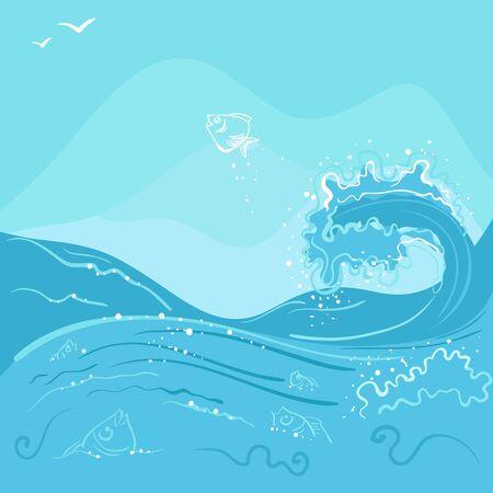 vague ocean: Poissons sautant hors de la vague de l'oc�an. Illustration en format vectoriel Illustration