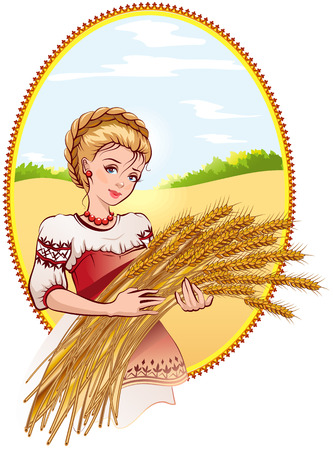 Woman holding wheat ears. Illustration in vector format