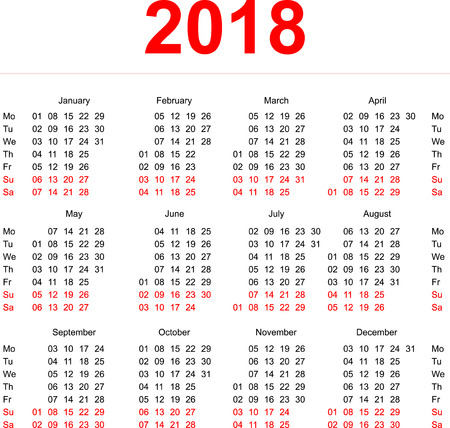 2018 Calendar template. Vertical weeks. First day Monday. Illustration in vector format Illustration