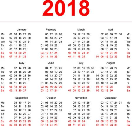 calendario 2018 editable