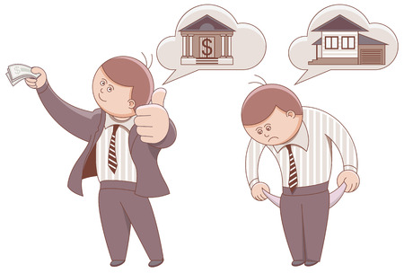 moneyless: Two cartoon men. Mortgage to buy a home. Illustration in vector format