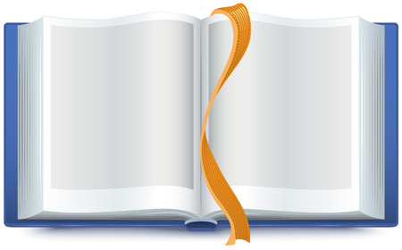 handbook: Blue open book with a bookmark. Illustration in vector format Illustration