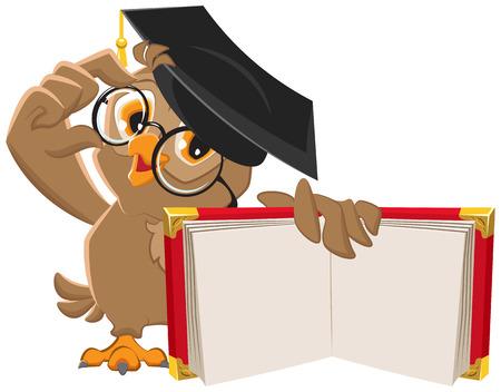 graduacion caricatura: Búho que sostiene el libro abierto. Ilustración en formato vectorial Vectores
