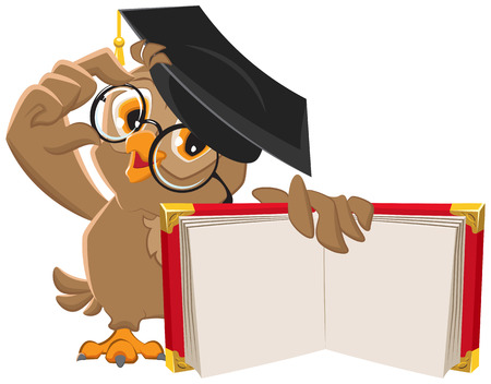 student teacher: Owl holding open book. Illustration in vector format Illustration