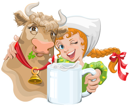 Girl hugging a cow and a farmer holding a cup of milk. Illustration in vector format