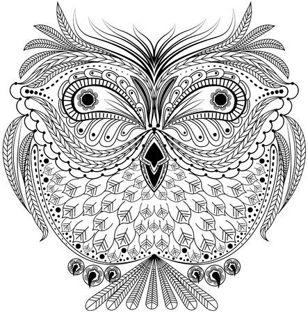 sowa: Monochromatyczny abstrakcyjne sowa. Graficzna ilustracja w formacie wektorowym