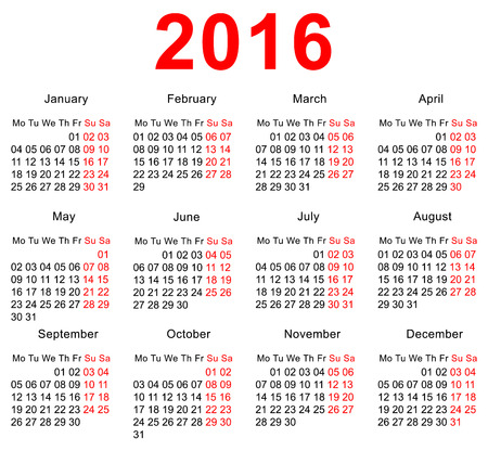 january 1st: 2016 Calendar template. Horizontal weeks. First day Monday. Illustration in vector format