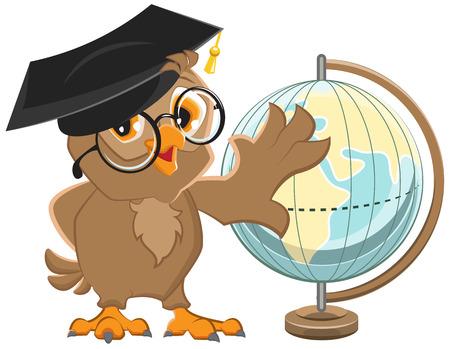 Owl teacher turns Globe. Illustration in vector format Stock Illustratie