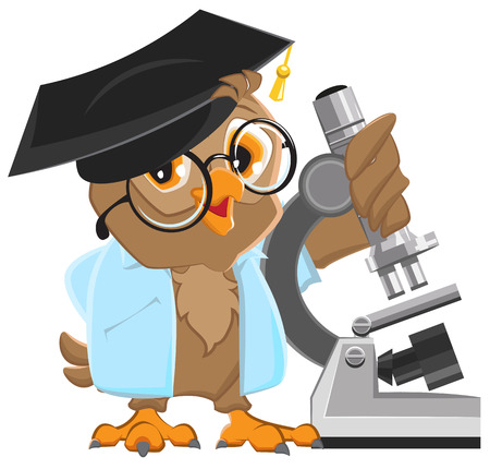 Owl professor in mortarboard holding the microscope. Illustration in vector format