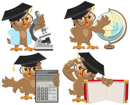 Set owls teachers. Isolated illustration in vector format Illustration