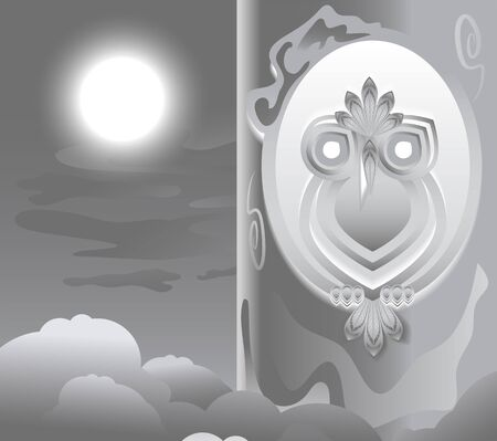 hollow: Owl in the hollow. Night, the moon is shining. Abstract illustration in vector format Illustration