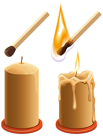 burns: Set match and candle. New and burns. Isolated illustration in vector format